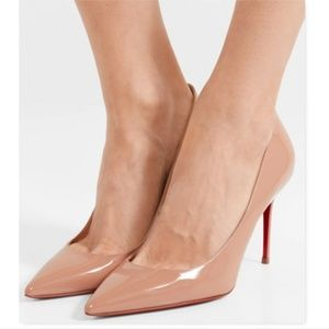 New CHRISTIAN LOUBOUTIN Nude Patent Pumps 39.5